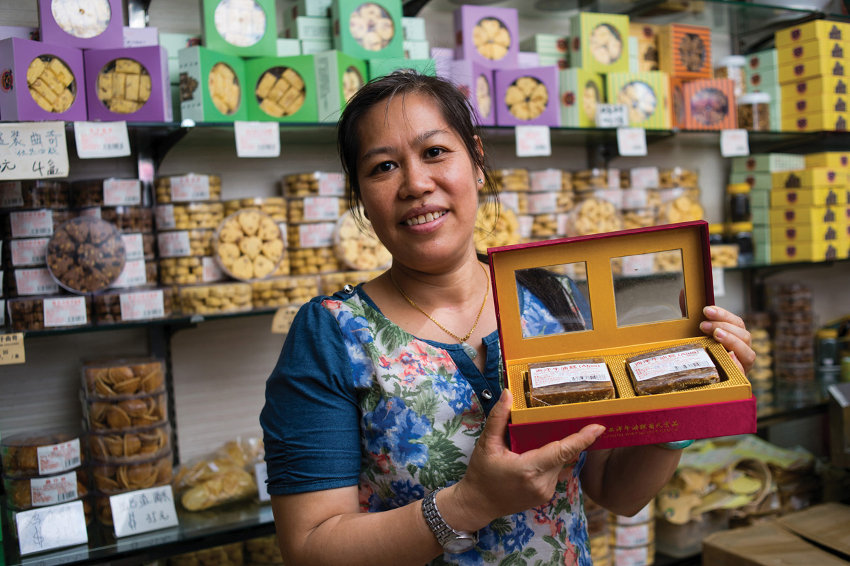 Kam In shop sells a variety of goodies that offer a taste of traditional Macao. Owner Ho Kam In says her recipes are more than a century old